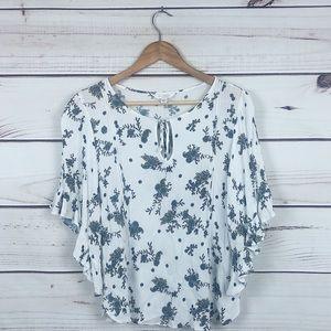 Lauren Conrad white ruffle bell sleeve blouse M